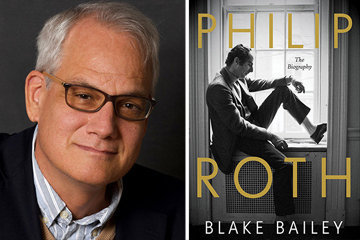 Philip Roth book cover and portrait of Blake Bailey