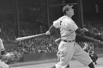 Hank Greenberg hitting a third inning homer against the Philadelphia Phillies, April 29, 1947.