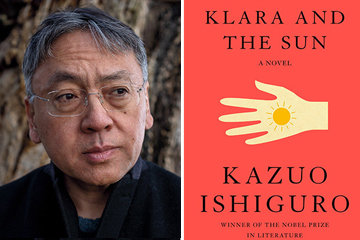 headshot of Ishiguro and book cover