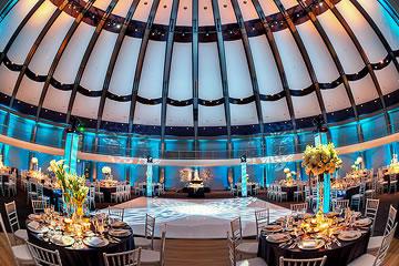 Banquet tables arranged around a dance floor