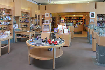 Interior photo of Audrey's gift shop showing display of items for sale