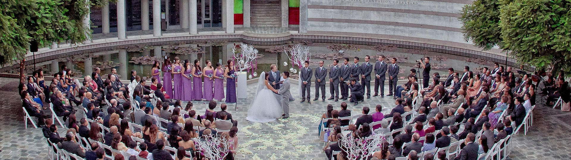 Wedding party in Taper Courtyard