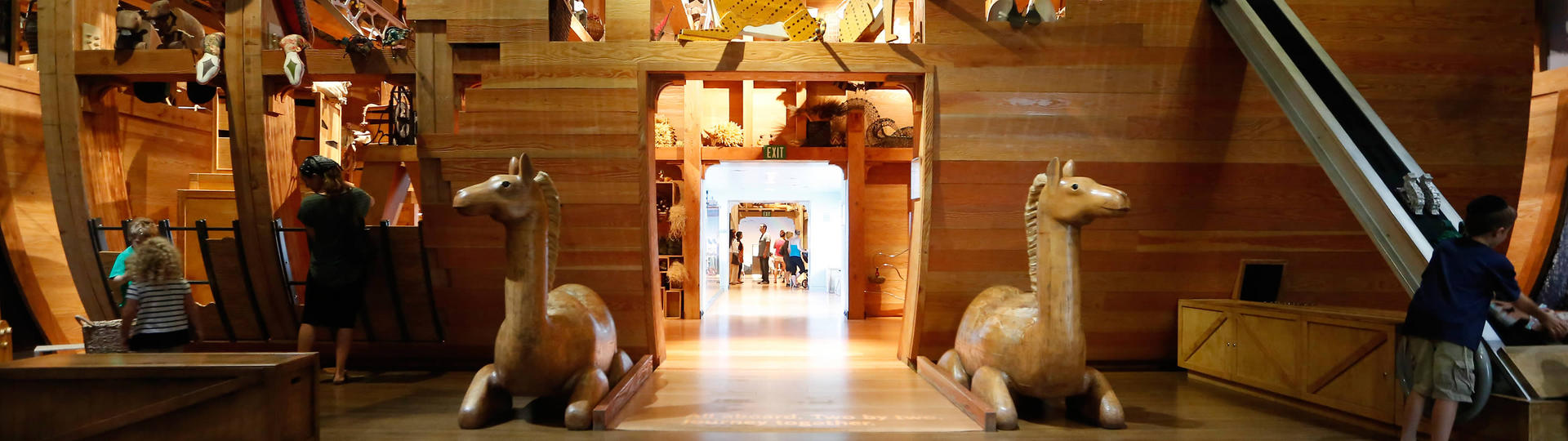 Wooden camels guarding the entrance to Noah's Ark