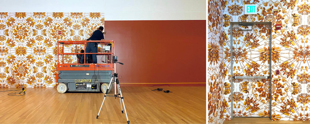 """Installing vinyl wallpaper for """"Ai Weiwei: Trace"""" at the Skirball"""