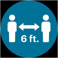 Stand 6 feet apart icon