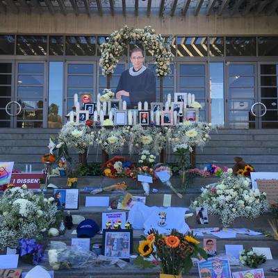 RBG Memorial Display on Skirball front steps