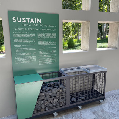 """Visitation stones installation for """"Sustain: From Loss to Renewal"""""""